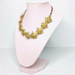 Vintage 50's gold pearl crystal costume necklace